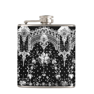 AWESOME WHITE LACE ON BLACK HIP FLASK