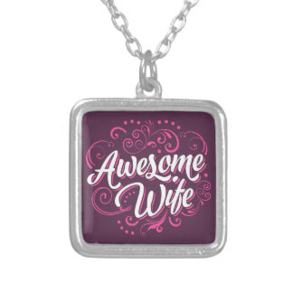 Awesome Wife Silver Plated Necklace