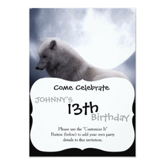Awesome Wolf and Moon White Wolf 13 Cm X 18 Cm Invitation Card