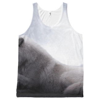 Awesome Wolf and Moon White Wolf All-Over Print Tank Top