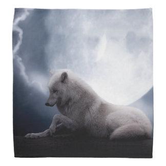 Awesome Wolf and Moon White Wolf Bandana