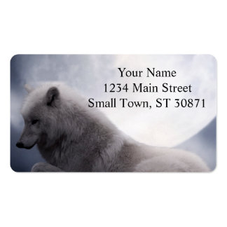 Awesome Wolf and Moon White Wolf Pack Of Standard Business Cards