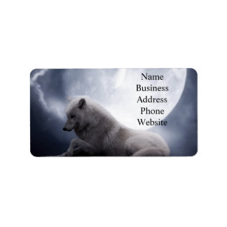 Awesome Wolf and Moon White Wolf Address Label