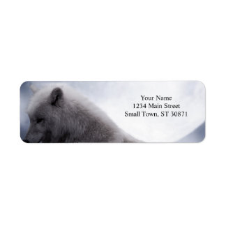 Awesome Wolf and Moon White Wolf Return Address Label