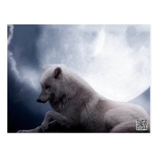 Awesome Wolf and Moon White Wolf Postcard