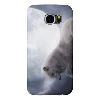 Awesome Wolf and Moon White Wolf Samsung Galaxy S6 Cases