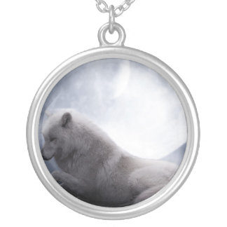 Awesome Wolf and Moon White Wolf Silver Plated Necklace