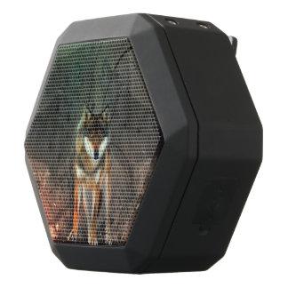 Awesome wolf on vintage background black bluetooth speaker