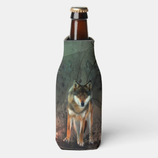 Awesome wolf on vintage background bottle cooler