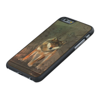 Awesome wolf on vintage background carved® maple iPhone 6 case