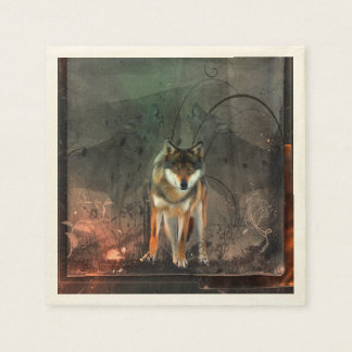 Awesome wolf on vintage background disposable napkins