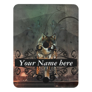 Awesome wolf on vintage background door sign
