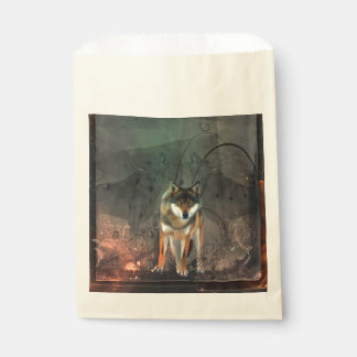 Awesome wolf on vintage background favour bag