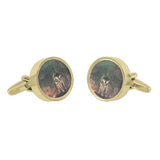 Awesome wolf on vintage background gold finish cufflinks
