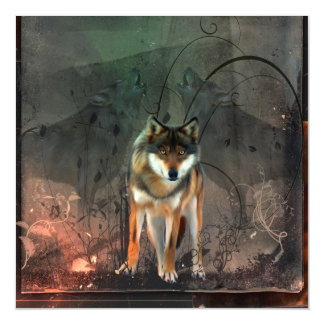 Awesome wolf on vintage background magnetic invitations