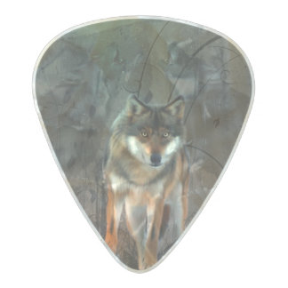 Awesome wolf on vintage background pearl celluloid guitar pick