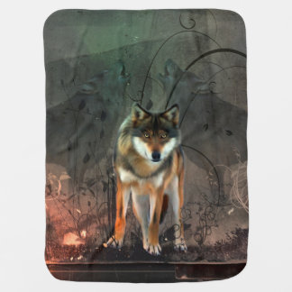 Awesome wolf on vintage background pramblankets