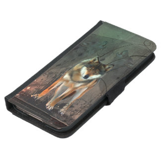 Awesome wolf on vintage background samsung galaxy s5 wallet case