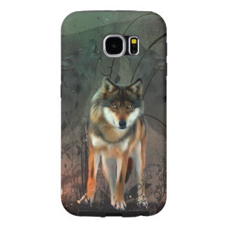 Awesome wolf on vintage background samsung galaxy s6 cases