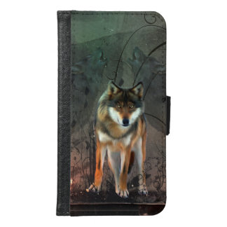 Awesome wolf on vintage background samsung galaxy s6 wallet case