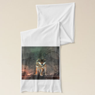 Awesome wolf on vintage background scarf