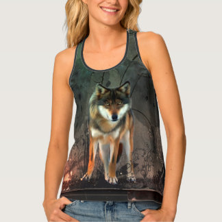 Awesome wolf on vintage background singlet