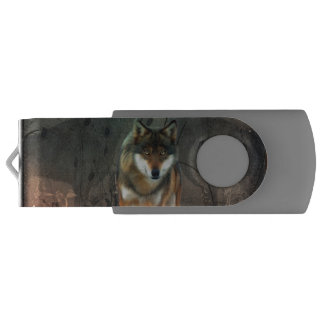Awesome wolf on vintage background swivel USB 2.0 flash drive