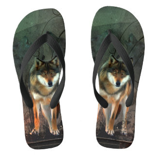 Awesome wolf on vintage background thongs