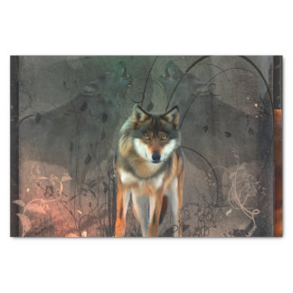 Awesome wolf on vintage background tissue paper