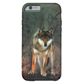 Awesome wolf on vintage background tough iPhone 6 case