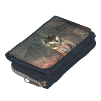 Awesome wolf on vintage background wallets