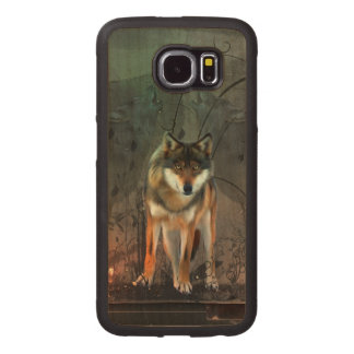 Awesome wolf on vintage background wood phone case