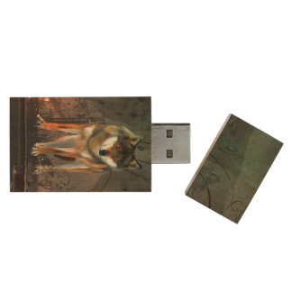 Awesome wolf on vintage background wood USB flash drive