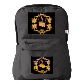 Awesome yellow skull with flowers backpack