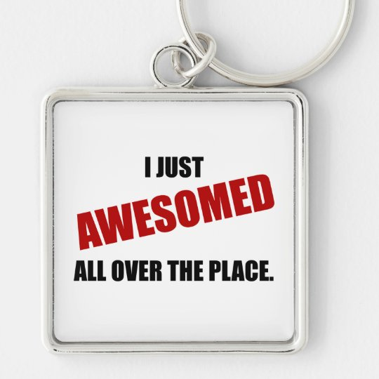 Awesomed All Over The Place Silver-Colored Square Key Ring