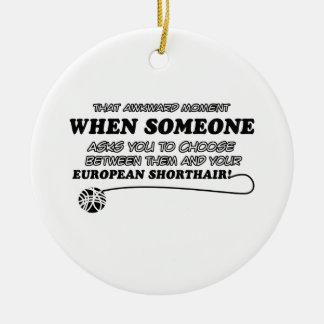 Awkward european shorthair designs round ceramic decoration