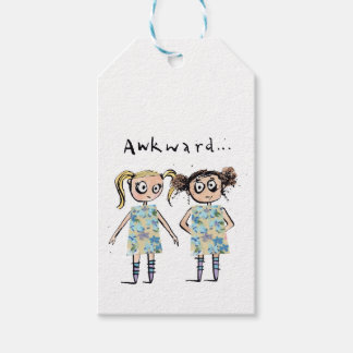 Awkward - like when you wear the same dress... gift tags