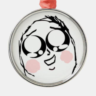 Aww Cute comic face Silver-Colored Round Decoration