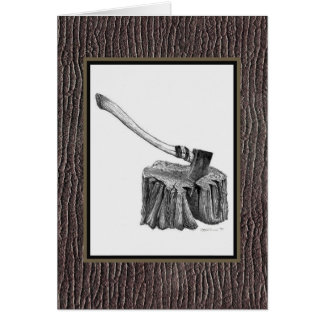 Axe and Stump Notecard