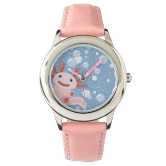 Axolotl and the Bubbles Bold Vector Design Wrist Watch