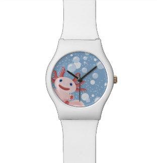 Axolotl and the Bubbles Bold Vector Design Wristwatches
