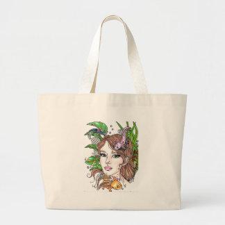 axolotl love large tote bag