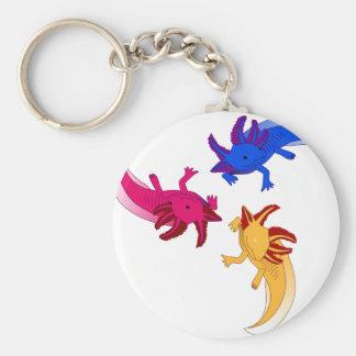 Axolotl trio basic round button key ring