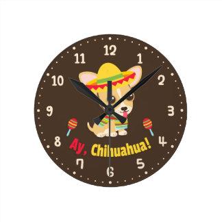 Ay Chihuahua Dog Mexican Room Decor Clock