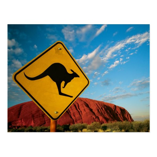 ayers rock kangaroo sign post card