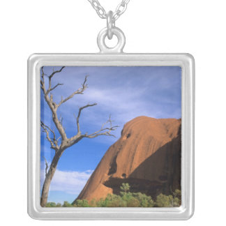 Ayers Rock Uluru in the Outback Australia Square Pendant Necklace