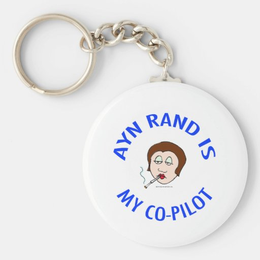 ayn rand is my co-pilot objectivism keychains