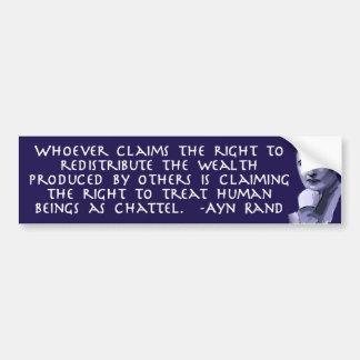 Ayn Rand on Redistribution of Wealth Bumper Sticker