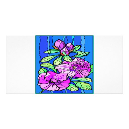 Azalea Flowers Stained Glass Picture Card