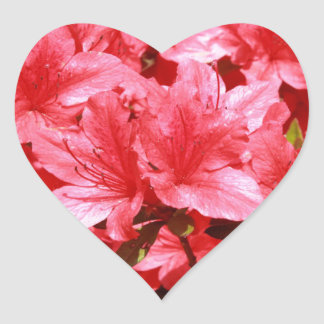 azalea red flowers heart sticker